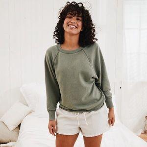 Aerie Olive Green Happy Camper Sweatshirt